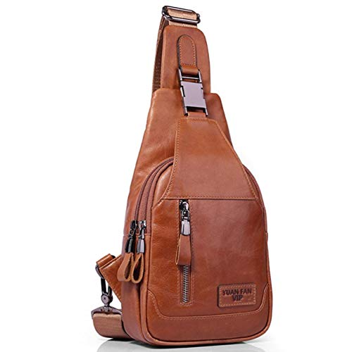 - 2019 High Quality New Men Genuine Leather Skin Messenger Shoulder Cross Body Bag Vintage Travel Male Man Sling Chest Day Pack (Brown Color)