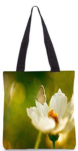 """Snoogg Weißer Schmetterling In Weiße Blume Tragetasche 13,5 X 15 In """"Shopping-Dienstprogramm Tragetasche Aus Polyester Canvas"""