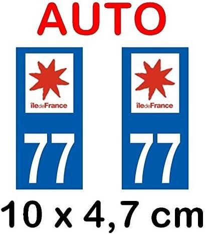 2 Stickers Autocollant style Plaque Immatriculation d/épartement 77