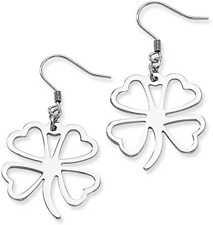 Chisel Stainless Steel Polished 4-Leaf Clover Dangle Earrings
