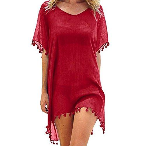 ACHIEWELL Women's Chiffon Tassel Beach Bikini Swimsuit Cover ups (Red, One - Swimsuit Cover Blue