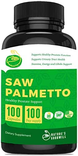 Saw Palmetto Prostate Health Supplements for Men ǀ Reduce Frequent Urination, DHT Blocker, Hair Loss Prevention & Libido Booster ǀ Saw Palmetto 500 Mg/Serving ǀ 100 Non-GMO Capsules