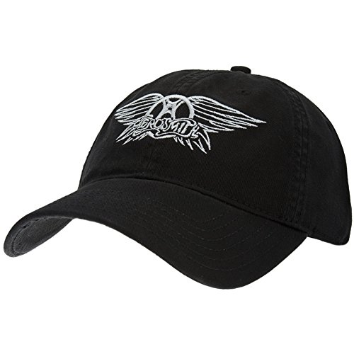 Aerosmith - Mens Aerosmith - Wings Logo Adjustable Baseball Cap Small Black (Aerosmith Wings)