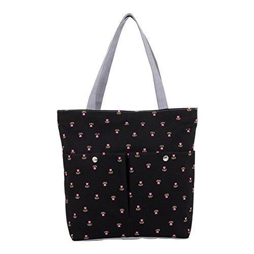 Hrph La bolsa de cereza bolso de lona escuela los bolsos Negro