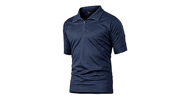 TACVASEN Secado R/ápido Militar T/áctico Hombre Camiseta Cremallera Camisa Polo