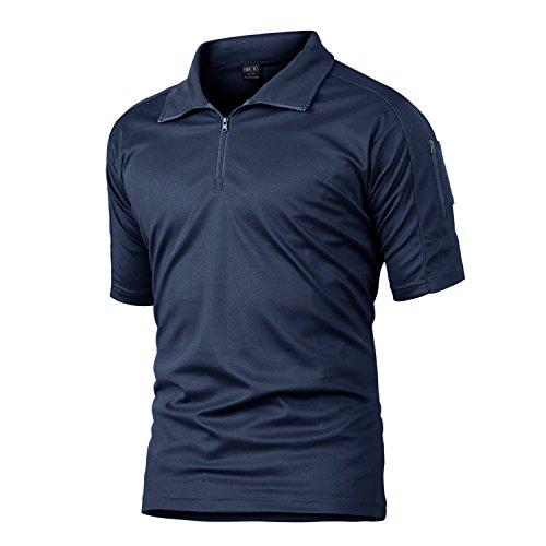 MAGCOMSEN Fishing Polo Shirts for Men Short Sleeve 3 Buttons Pique Polo Shirt Tactical Polo for Men Navy