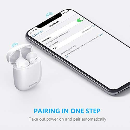 TECKNET Ecouteur Sans Fil, écouteurs Bluetooth 5.0 de lecture stéréo 3d HD Écouteurs sans fil avec Mic, Binaural Couplage Automatique d\'appel, écouteurs sans fil avec étui de chargement portable