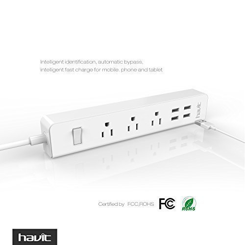 HAVIT USB Power Strip/PowerPort Strip, with 4-Port USB Charging Stations and 3 AC Outlets Plus, Home/Office Surge Protector with 5ft Cord for Smartphone and Tablets[New Version]