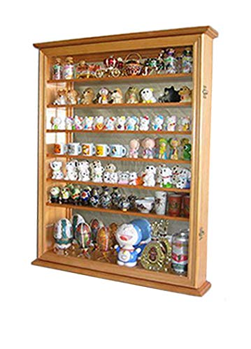 Wall Display Case Cabinet for Miniature Shoes, Miniatures Figurines, Wall Curio Cabinet ((Oak Finish)