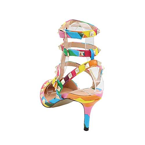 multicolore Spikes Straps Pompe Ladies EKS Stiletto Rivetti Sandali w8OATqC