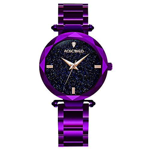 AOSCWALD Waterproof Wrist Watch for Women Fashion Leisure Starry Sky Flickering Quartz Watch Purple Stainless Steel Strip Rhinestone Lady Watches