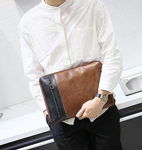 Capacity Leather Multifunction Bag Multi Brown Fashionable Individual Waterproof Men's Wrist Large Clutch Zhrui Strap gqfCx7P