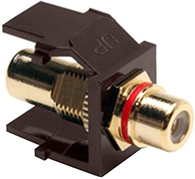 Amazon Com Leviton 40830 Bar Quickport Rca Gold Plated Connector With Red Stripe Almond Home Improvement