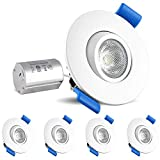 Luxrite 2 Inch Gimbal LED Recessed Light with Junction Box, 5W, 4000K Cool White, 400 Lumens, Dimmable Downlight, Energy Star & IC Rated, Damp Location - Adjustable Recessed Lighting (4 Pack)