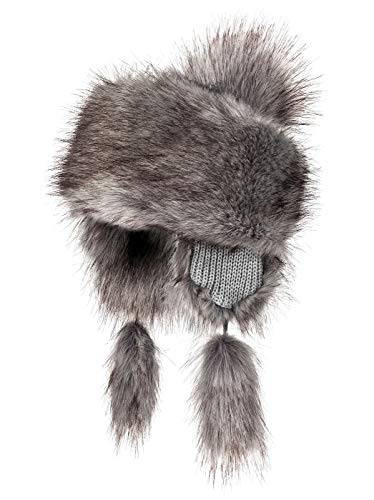 - Futrzane Faux Fox Fur Winter Trapper Hat Women Russian Style Hat (Silver)