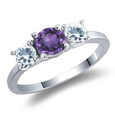 0.89 Ct Round Purple Amethyst Sky Blue Aquamarine 925 Sterling Silver Ring