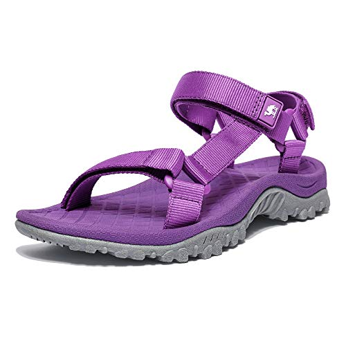 (CAMEL CROWN Sport Sandals for Women Anti-skidding Water Sandals Comfortable Athletic Sandals for Outdoor Wading Beach Purple 8.5 M US)