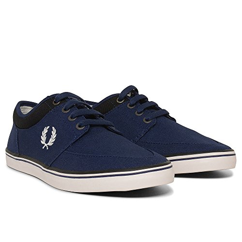Fred Perry Stratford Canvas French Navy Snow White B1167143, Scarpe sportive