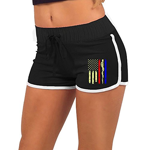 Police & Firefighter & EMT Flag Womens Low Waist Hot Pants,Summer Season Slim Yoga Minipants ()