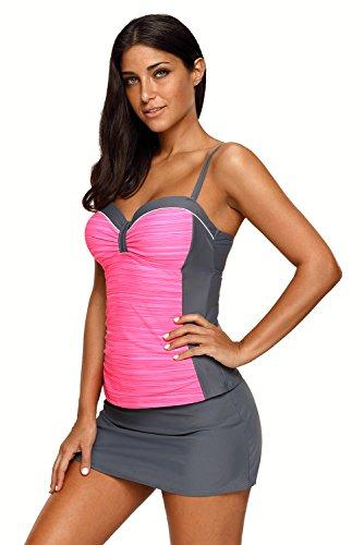 6c4a5a2758227 ... REKITA Womens Swimsuit Halter Tankini Top and Skort Bottom Set Bathing  Suits, Rosy Grey, ...