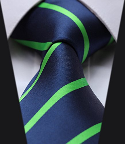 (Ts2013g8 Navy Blue Green Stripe 100% Silk 3.4