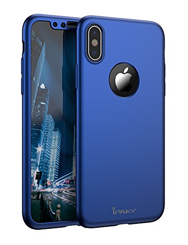iPhone X Full Body Case, IPAKY 360 Degree Protection Ultra Thin Hard Slim Case Coated Non Slip Matte Surface with Nano Anti-Explosion Screen Protector for Apple iPhone 10 (Blue)