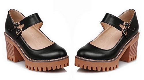 Noir Chaussures Couleur Gmbdb011474 Femme Légeres Unie Rond Boucle Agoolar nqSw8f1Xq