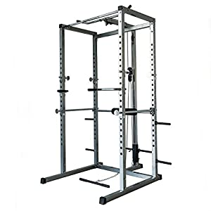 Akonza Athletics Fitness Power Rack with Lat Pull Attachment w/ Weight Holder Exercise Station Function