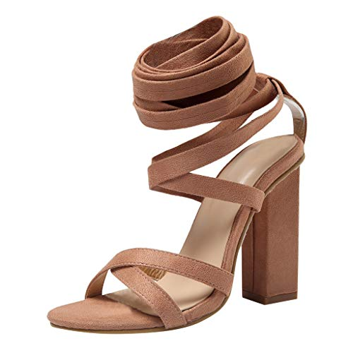 (OrchidAmor Summer Sexy Womens Cross Strap High Heels Wedding Party Prom Shoes Pumps Sandals 2019 Khaki )