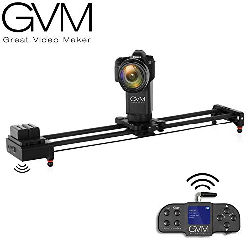 "2-Axis Motorize Camera Slider 32"" Electronic Video Slider 360 Degree Rotate Auto Loop Track System Shooting Equipped with Wireless Controller Tracking Shooting Video Slider,Load up to 22lbs"