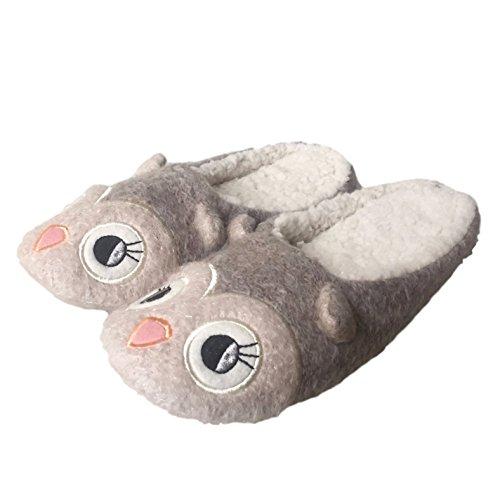 Womens Ladies mullido suave cálido cómodo forro polar Zapatillas Slide Slip On cómodo Animal Búho reno Character Novelty Mulas Tamaño 345678tamaño pequeño, mediano y grande búho