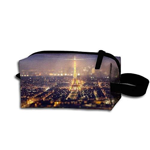 (Makeup Cosmetic Bag Paris Eiffel Tower Lights Medicine Bag Zip Travel Portable Storage Pouch For Mens Womens)