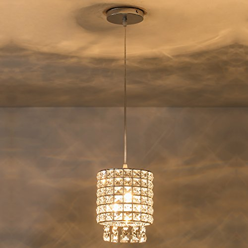 Anxin One light Crystal Ceiling Light Modern Pendant Light Hanging Ceiling Light Crystal Chandelier Lighting For Dining Room, Bedroom, Hallway