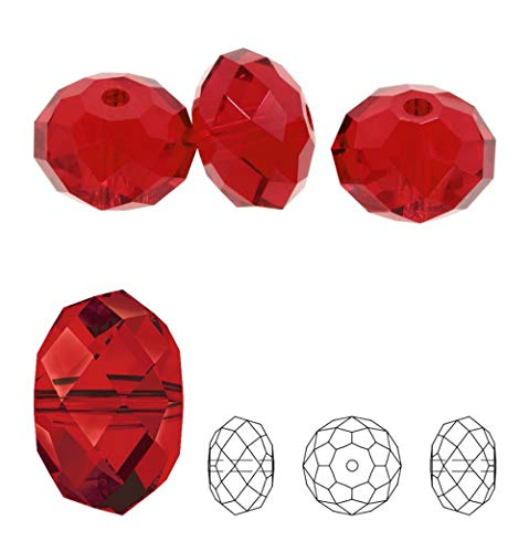 24 8mm Adabele Austrian Rondelle Crystal Beads Siam Red Rondelle Spacer Compatible with 5040 Swarovski Crystals Preciosa SS1R-805