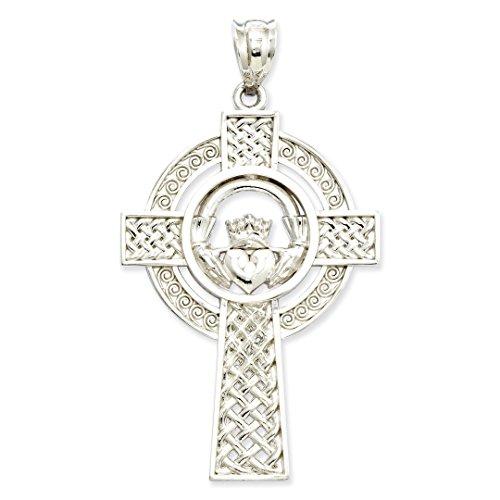 14k Engraveable Cross Pendant (14K White Gold Celtic Claddagh Cross Pendant - (1.57 in x 0.87 in))