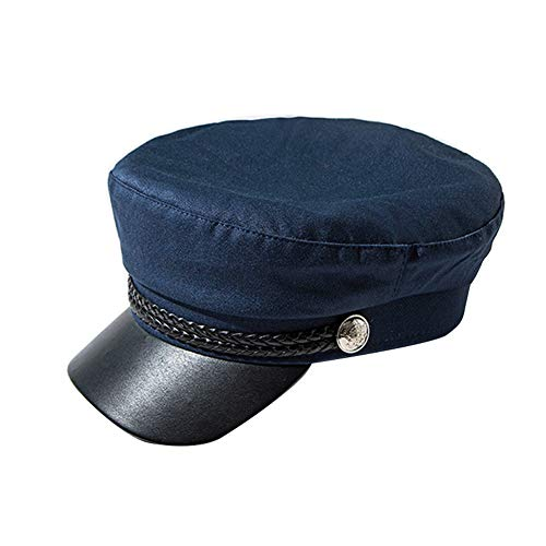 Men Women Fiddler Chauffeur Captain Sailor Cap Baseball Cabbie Navy Beret Baker Hat Headwear with Visor Soft Satin Lined, Navy ()