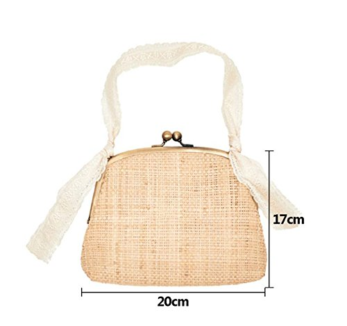 Handbag Ins Meaeo Fabric Bags Lace Popular Shopping Mini Knitted Hot Handle Handbag Female Casual Straw Women Ladies Handmade 100dqw