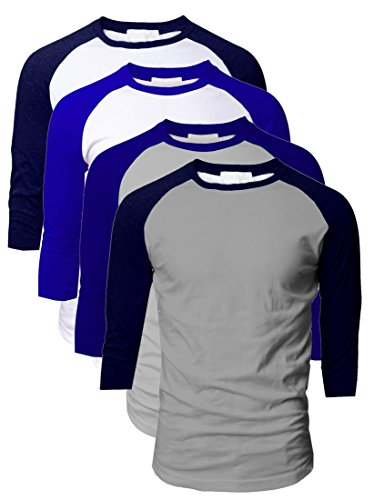(TOP LEGGING TL Men's 4 Pack 3/4 Sleeve Baseball Cotton Crew Neck Jersey Raglan Tee Shirts S to 3XL - Large)