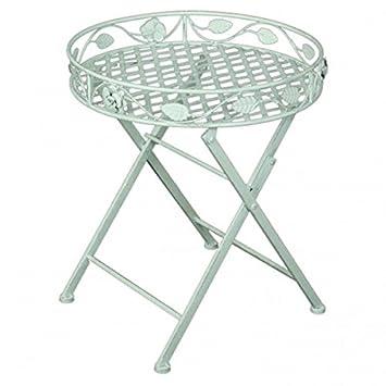 Unbekannt Deko Tisch mit Einfassung RUND Metall weiß Lackiert ...