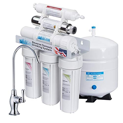 KUPPET 100 GPD 6-Stage Undersink Ultra Violet Sterilizer Reverse Osmosis Water Filter System, Healthy Drinking Water Filter System, Remove Chlorine, Heavy Metals, Fluoride etc, NSF Certificated