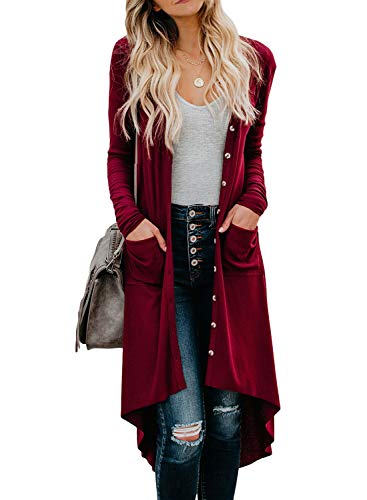 Dokotoo Womens Autumn Ladies Long Sleeve Solid Color Snap Button Down Open Front V Neck Ribbed Plain Long Knited Cardigans Sweaters Outerwear Coats with Pockets Red Medium
