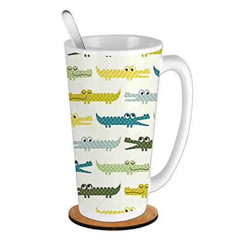 Crocodile Characters in Funny Faces Animal Alligators Childish,Yellow Green Teal;Ceramic Cup with Spoon & Round wooden coaster Milk Coffee Tea Mug 16oz gifts for family