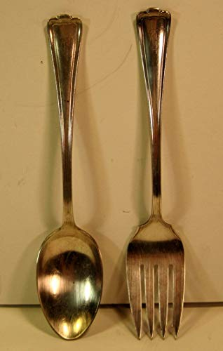 Serving Fork and Spoon, Rogers Bros Silver Plate, Vintage Set, 8.25 Inches, Initial T