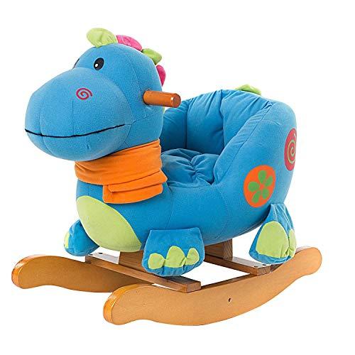 ZLMI Child Rocking Horse Toy,Blue Dinosaur Rocking Horse Plush for Kid 1-3 Years,Wooden Rocking Horse/Stuffed Animal/Baby Rocker Horse/Toddler Rocking Horse