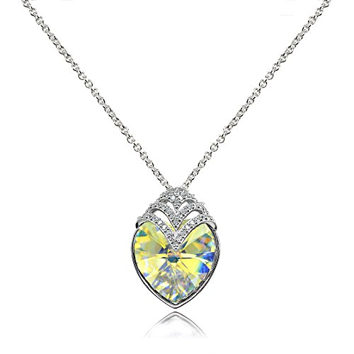 "Sterling Silver Aurora Borealis Crown Engraved ""Love You Today & Always"" Heart Necklace made with Swarovski Crystal"
