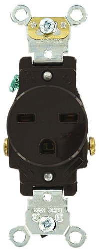 (Leviton 5651 15 Amp, 250 Volt, Industrial Series Heavy Duty Grade, Single Receptacle, Straight Blade, Self Grounding, Brown)