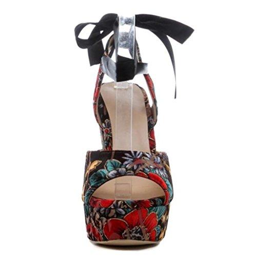 xie Forme Impression Pompes Sandales Taille 35 Plate Strap Wedge Femmes à Ankle Chaussures Vintage Partie 40 BqYABwrS