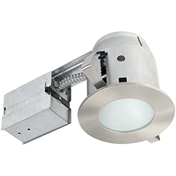Globe Electric 4  Damp Rated Shower Recessed Lighting Kit Dimmable  Downlight  Brushed Nickel Finish  Round Tempered Frosted Glass  Easy  Install Push N Click  Amazon com  Globe Electric 3  Swivel Spotlight Recessed Lighting  . Easy Track Lighting Kit. Home Design Ideas