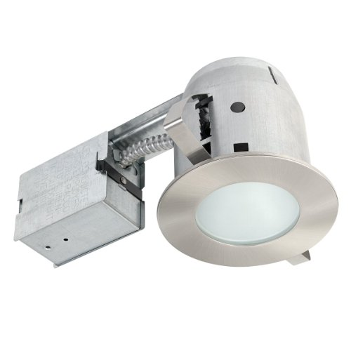 "Earth Electric 4"" Damp Rated Shower Recessed Lighting Kit Dimmable Downlight, Brushed Nickel Finish, Round Tempered Frosted Lorgnon, Easy Install Push-N-Click Clips, 90664"