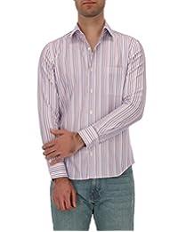 Camisa Casual Regular Fit Con Diseño De Líneas Multicolor Lila